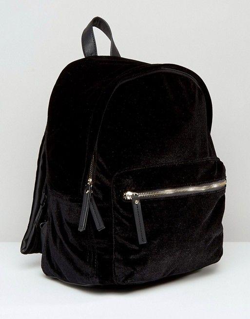 25dc11c4bf29 New Look Velvet Backpack