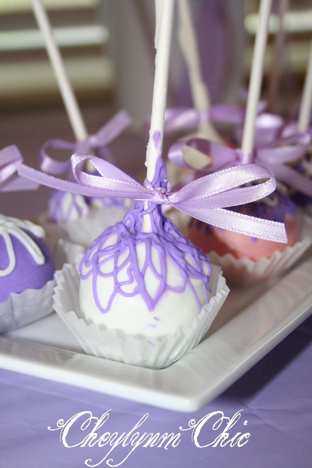 purple cake pops - Loving Lavender Shower