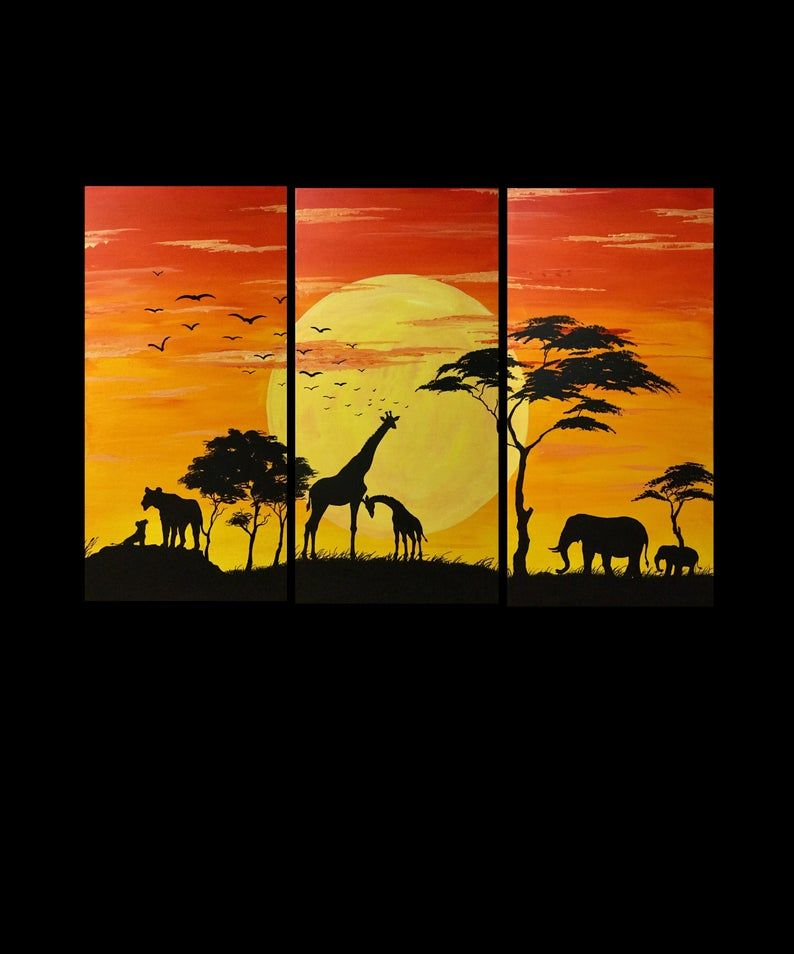 African Animal Triptych Africa Safari 3 Piece Painting Etsy In 2021 Africa Painting Shadow Painting African Paintings