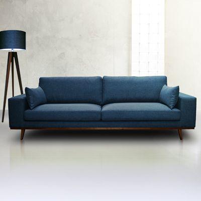 Canapé Places En Tissu Torino Bleu Indigo Suisses - Canapé 3 places pour idee deco design