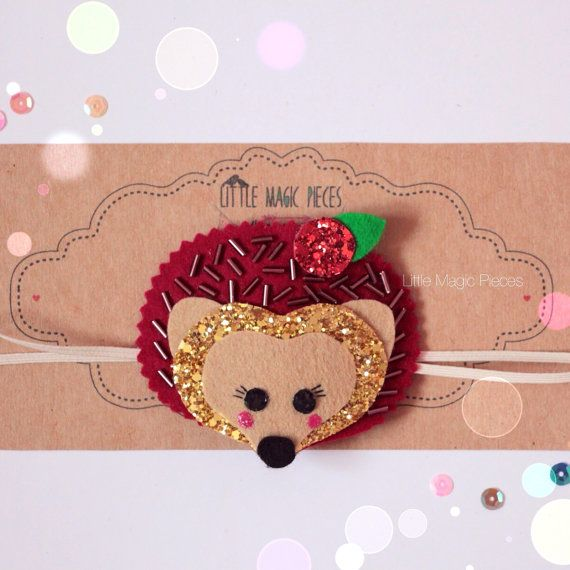 Woodland Hedgehog Headband Glitter by LittleMagicPieces on Etsy