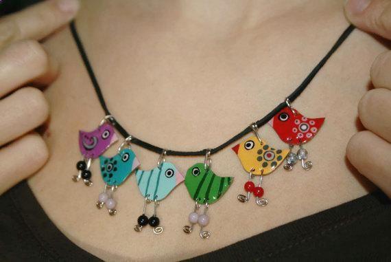 Ähnliche Artikel wie Regenbogen Charm Halskette Metall Edelstahl, handbemalter Schmuck, Mode Halskette mehrfarbig bunten Schmuck, Statement-Kette für Frau auf Etsy