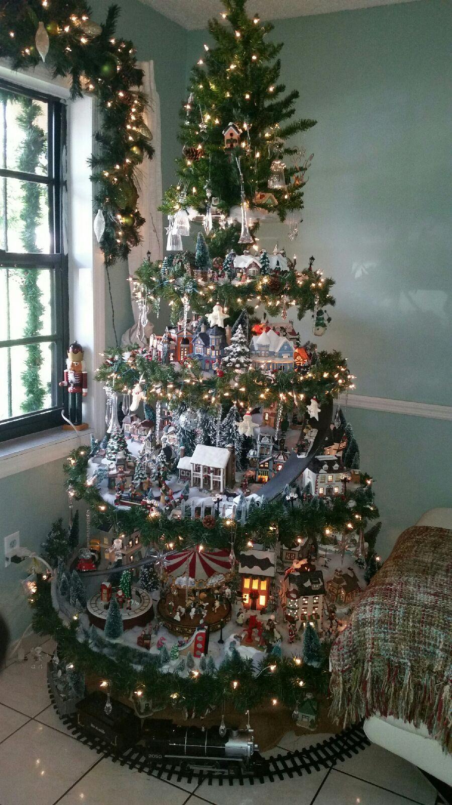Christmas tree village display   Christmas Crafts   Christmas tree village, Christmas tree ...