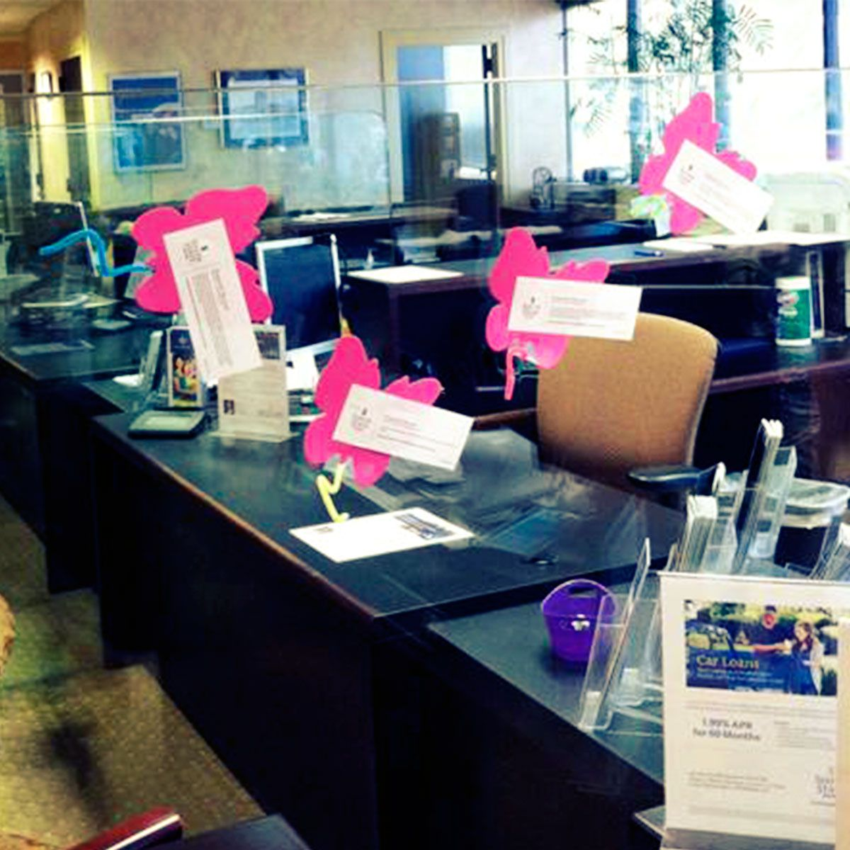 Our branch on Mall Blvd in Savannah, GA decorated their desks and lobby for Financial Literacy Month.