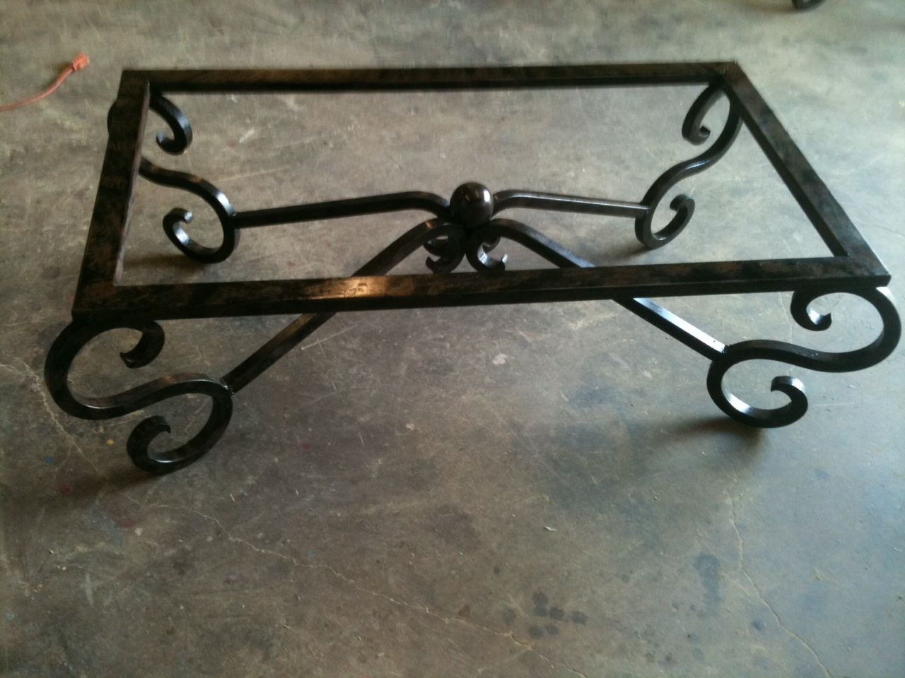 Custom Wrought Iron Coffee Table w/ Scroll Legs $650.00 ...
