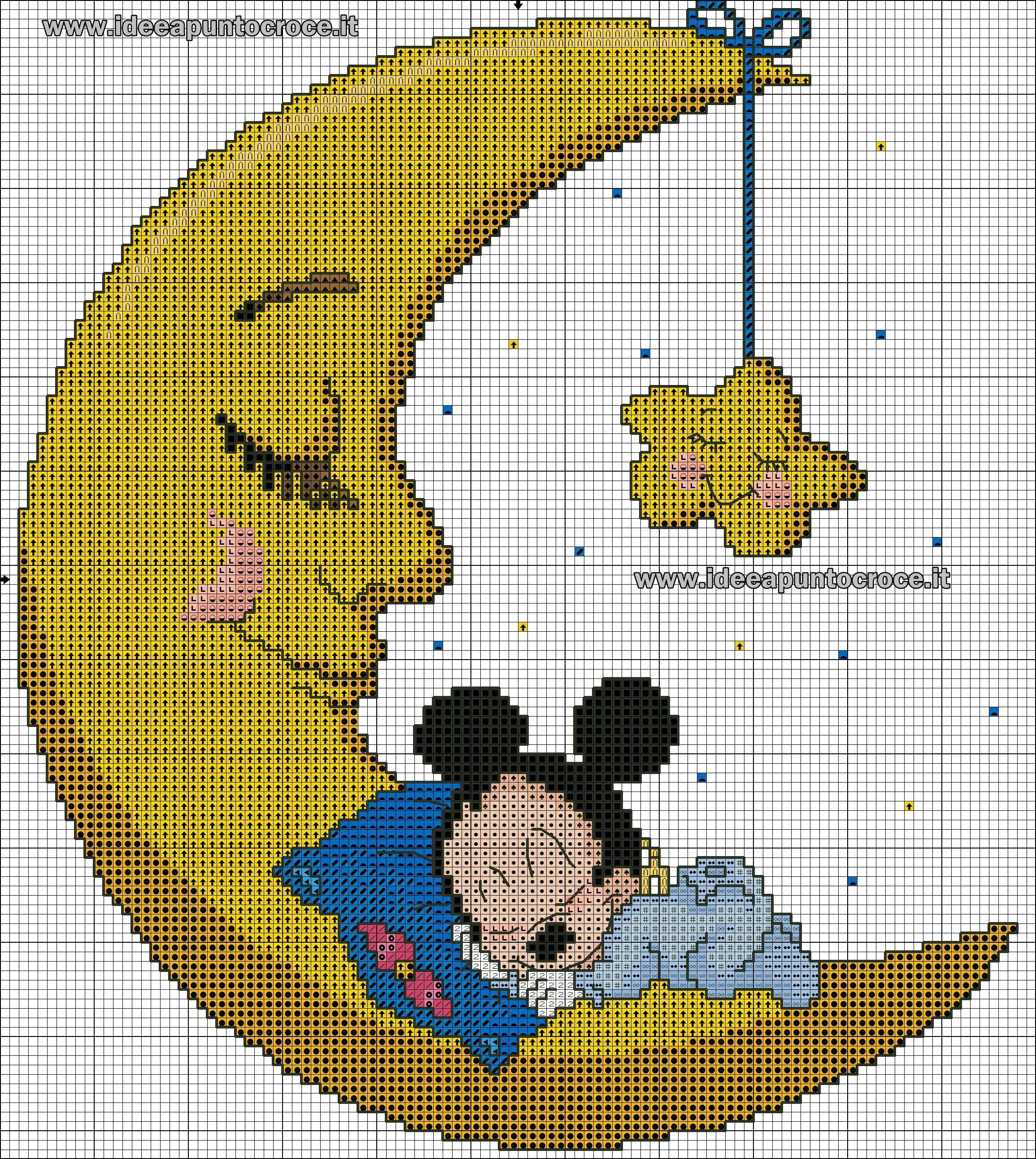 Schema Baby Topolino Sulla Luna Punto Croce Babies Stitch Cross