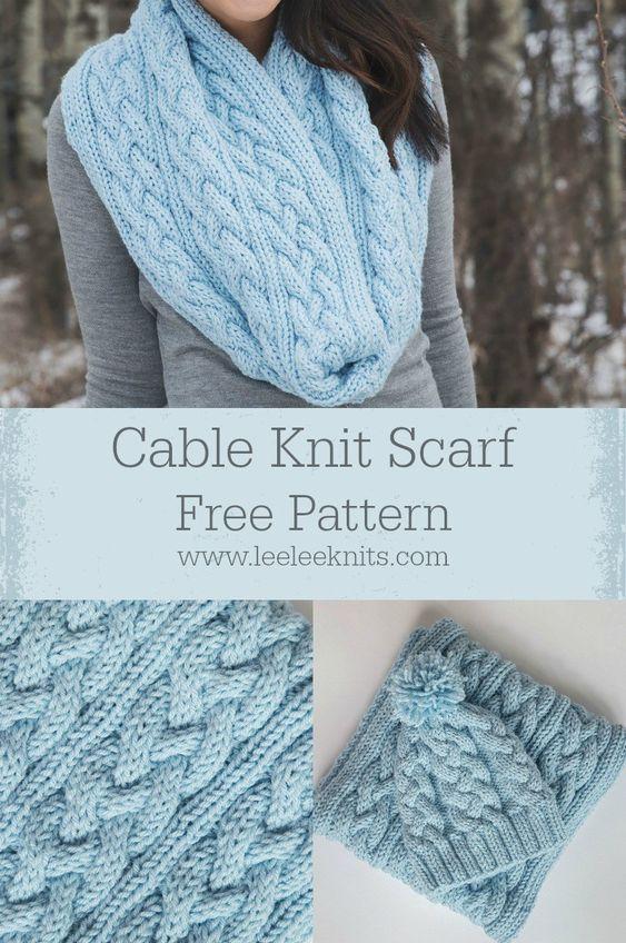 Free Cable Knit Scarf Pattern Knitting Patterns Pinterest Knit