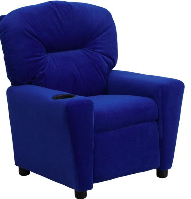 Living Room Ideas To Steal For Comforting Vibe Found In: Contemporary Blue Microfiber Kids Recliner With Cup Holder