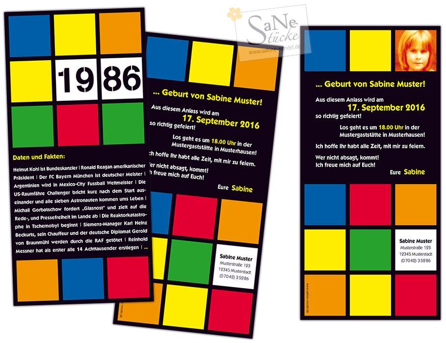 Einladungskarte Zum Geburtstag Im Retro Stil Der 80er Jahre Fur