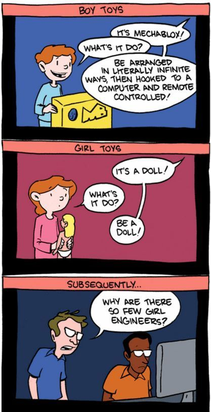 Why are there so few girl engineers? Gender of toys -- cute cartoon to remind us how we socialize kids.