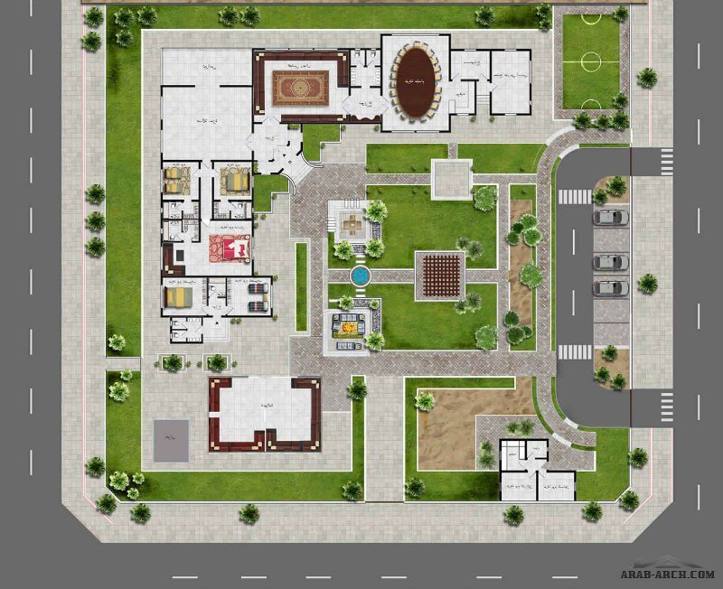 تصميم استراحة حرف L زاوية من أعمال Yasmine Al Hadwa Floor Plan Design House Layout Plans Villa Plan