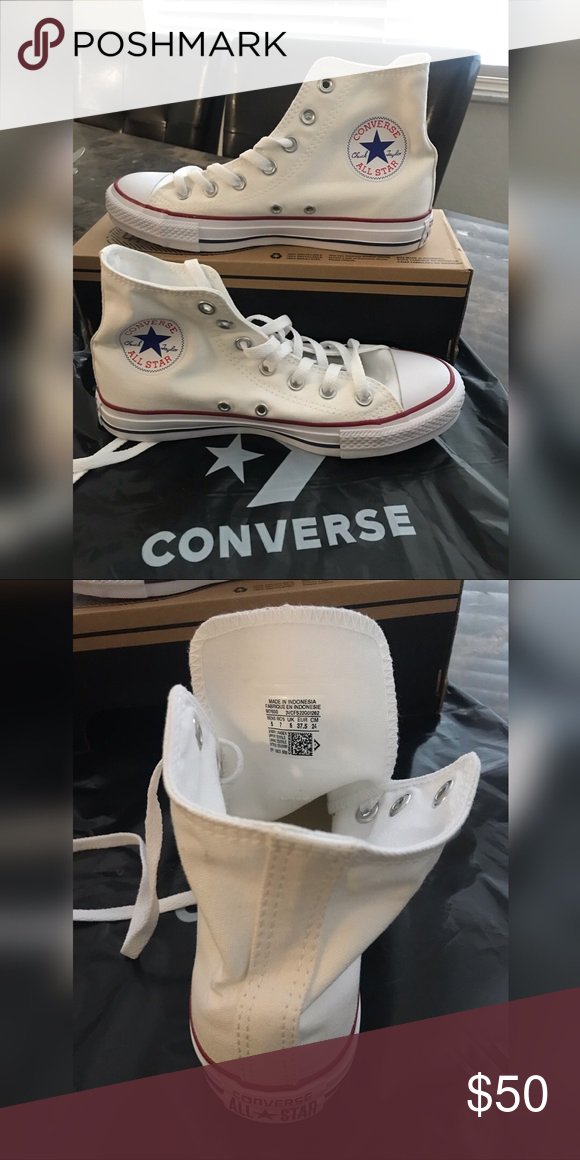 1f323e9cdce7 Converse high top white. For sale original converse high top white. Size  men 5 women 7 Men 6 women 8. Original price is  65. I sell for  50