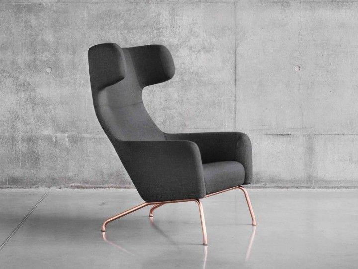Ohrensessel design  HAVANA Sessel Wohnzimmer Ohrensessel Softline Filz & Kupfer | For ...