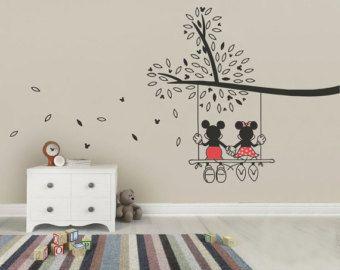 Micky Maus & Minnie Baum Swing Wandtattoo - Wandtattoo Kunst aus ...