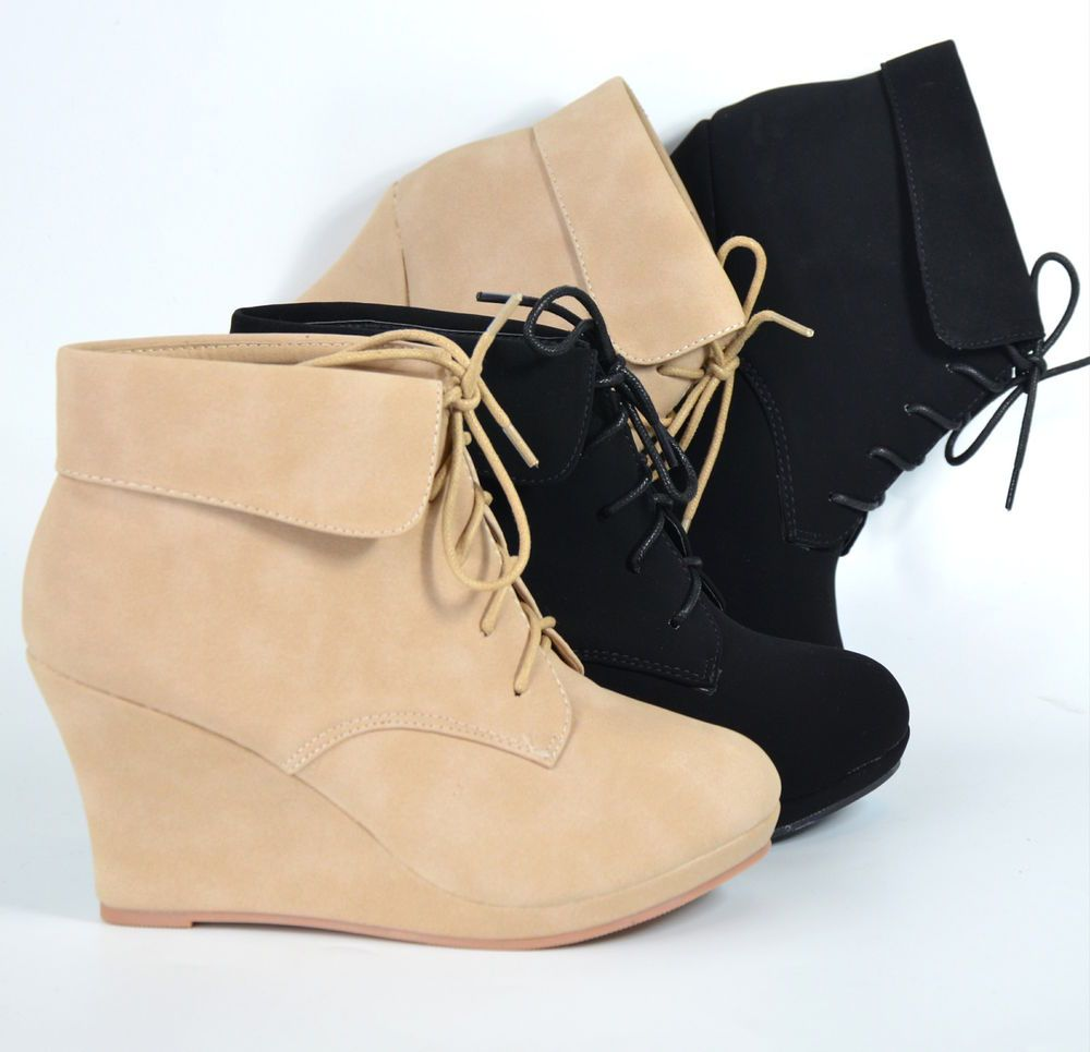 7d63382d9bdc Women s Ankle Boots Wedge Heel Platform Lace Up Booties Beige Black Shoes  New  TM  FashionAnkle