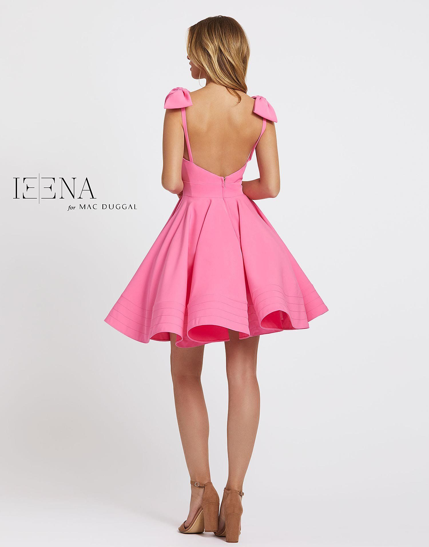Ieena Duggal - 49034I Bow Accent Shoulders A-Line Cocktail Dress #backlesscocktaildress