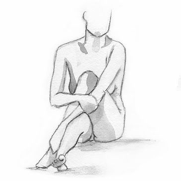 Modèle vivant - nu - nude - sketch - watercolor © Sarah Belin 2014