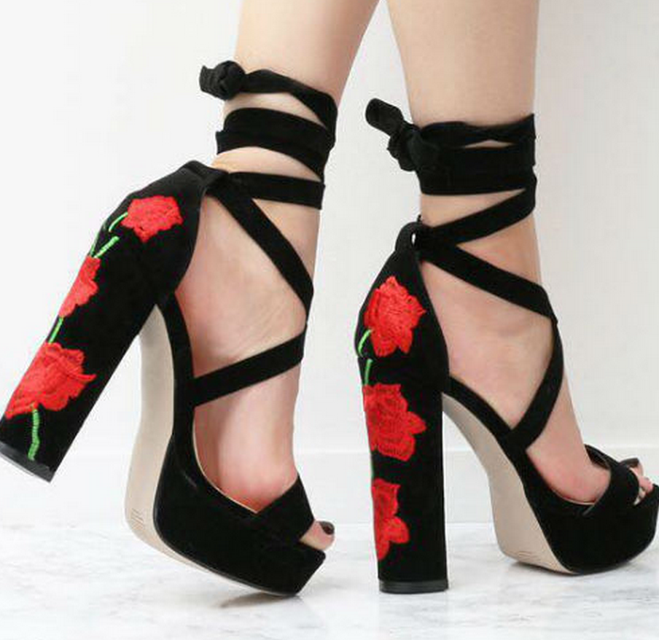 40ea99128a9 Rose Embroidered High Heels YV17062