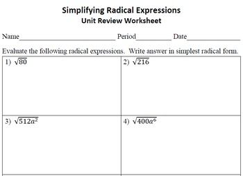 Simplifying Radical Expressions Unit Review Worksheet | Teachers Pay ...