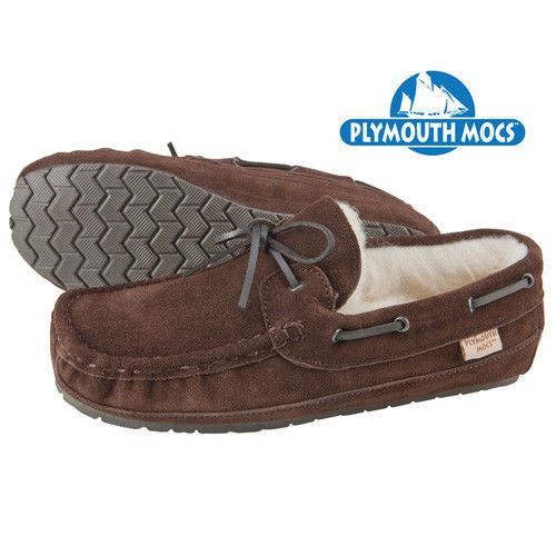 3a55887f46d Slippers 11505  New Plymouth Mocs Men S Size 13M Wool Lined Brown Suede  Moccasin Slippers -  BUY IT NOW ONLY   29.99 on  eBay  slippers  plymouth   lined ...