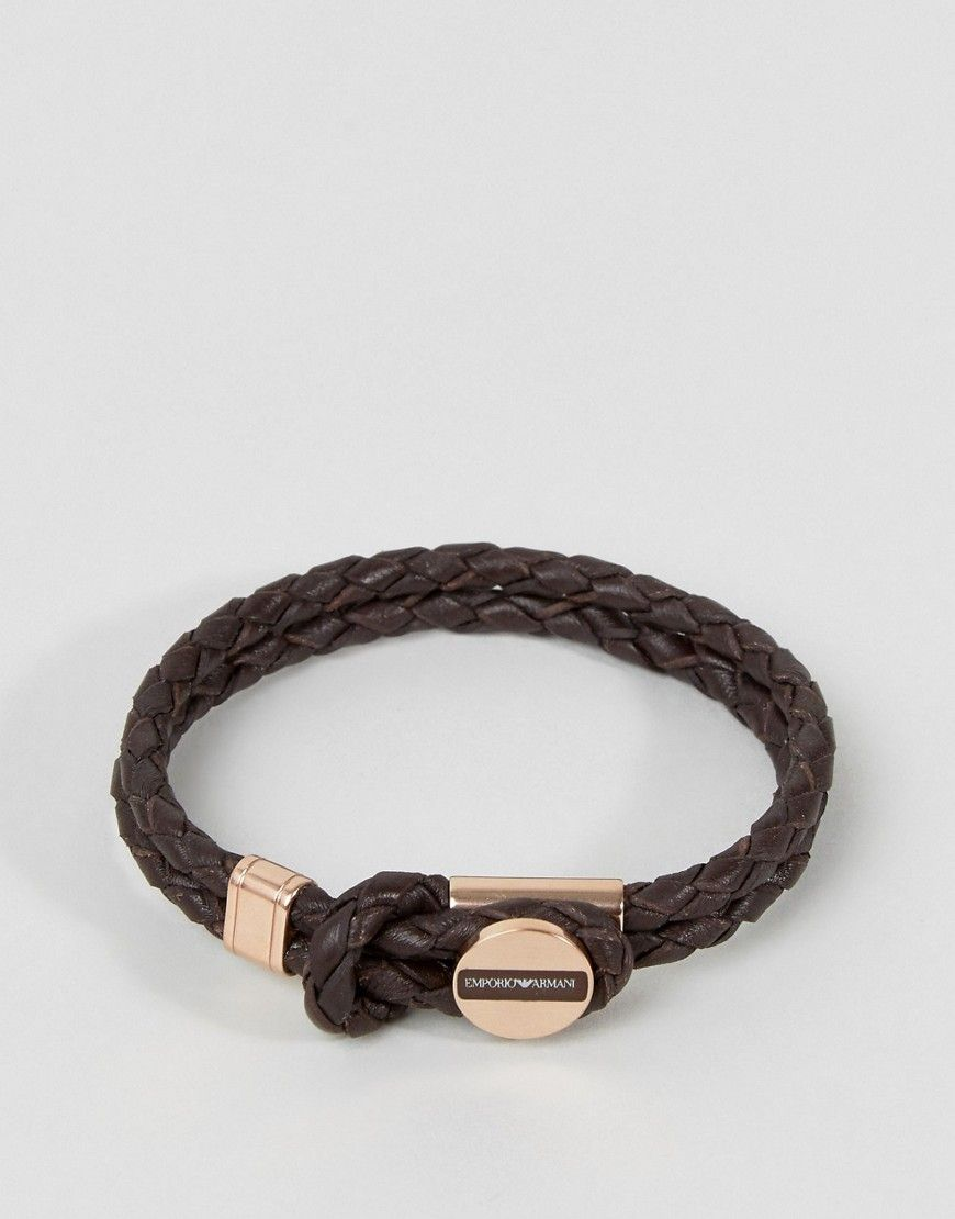 d307f8777 Emporio Armani EGS2177221 plaited bracelet in brown & bronze ...