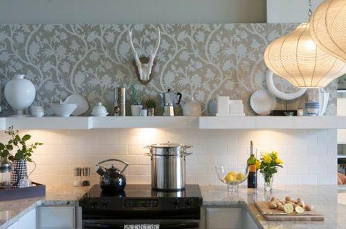 Tapeten für küchen  Wandgestaltung mit schönen Tapeten küche design grau porzellan ...