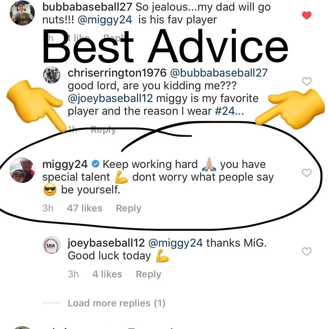 The Best Advice From Best Player In The Mlb Miggy24 Thanks Mig Miggy Detroit Detroittigers Baseball Mlb Springtraining Espn Baseball Baseball Baseball Tournament