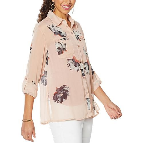 G by Giuliana Printed Ruffle-Pocket Button-Up Shirt Roll-tab sleeves and ruffled pockets define this pretty blouse crafted from floral-print chiffon. So fresh!