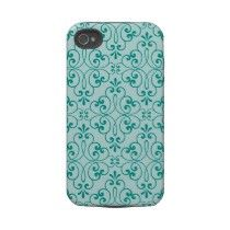 Ornate damask decorative teal aqua iPhone Cover