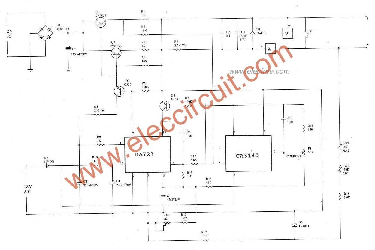 0 30v 5a Regulated Variable Power Supply Circuit Eleccircuitcom Shock Alarm Electronic Circuits And Diagramelectronics Benchtop Circuitoutput Voltage Current Max Use Ic Lm723 Is A Regulator Designed Primarily For Series