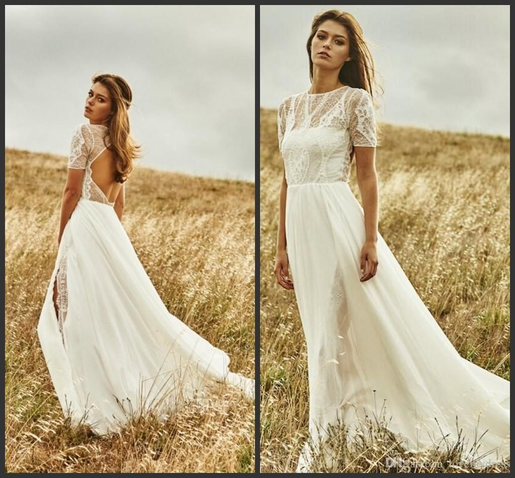 Simple wedding dresses cheap  Lace Formal Dresses Cheap Iullsion Wedding Dresses Short Sleeve