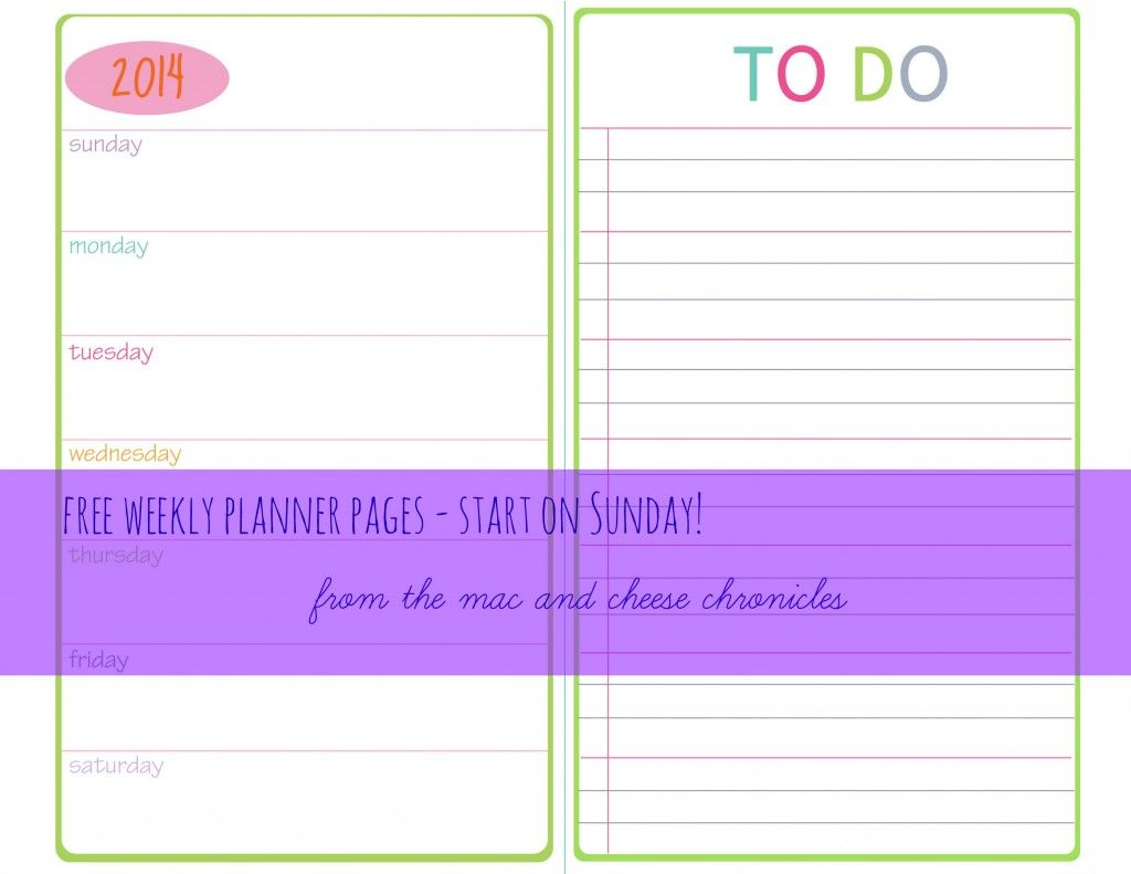 Sunday Start  Printable Weekly Planner Pages Full And Half Size