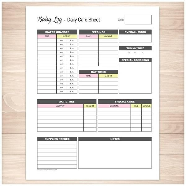 Baby Log - Daily Infant Care Sheet - Pink \ Yellow - Printable - what is an daily incident reports