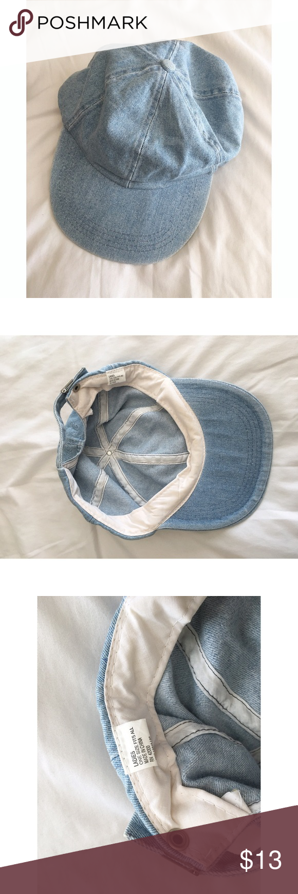 Light Denim baseball dad cap vintage Cute baseball cap in light denim. Fits like a vintage dad cap. Super cute! One size fits most.  It has a bit of wear. As shown. Price will reflect.  The hardware has a few scratches, as shown. Accessories Hats