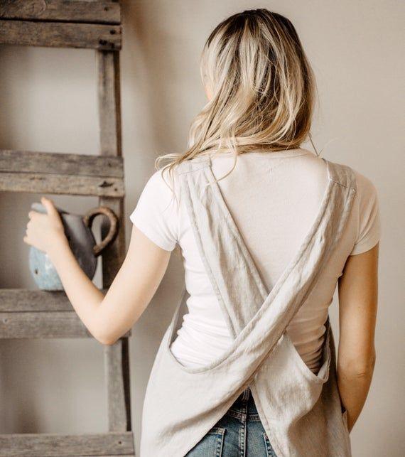 Japanese Apron , Linen Smock, Linen tunic apron, Work dress, Linen pinafore, deep pockets , Linen Cr #linentunic