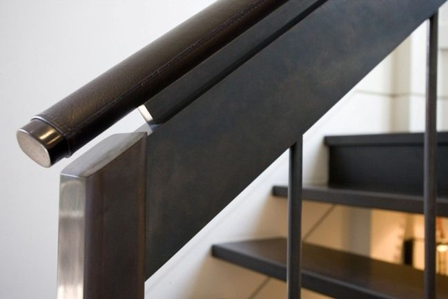Leather wrapped handrail. Credit: Seattle Stair & Design ...
