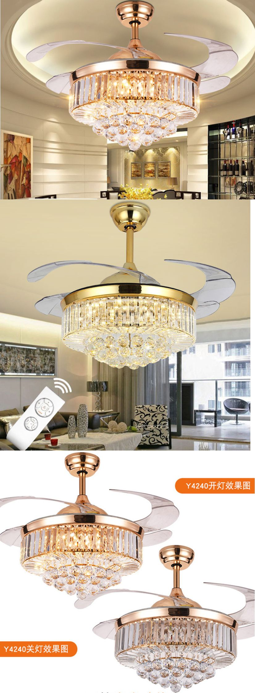 Luxury Ceiling Fan Ceiling Fans 176937 Rose Gold Led Crystal Ceiling Invisible Fan