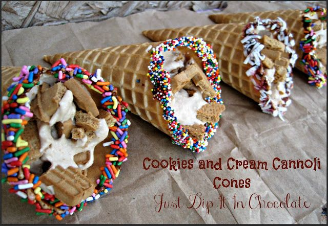 Cookies and Cream Cannoli Cones Recipe, can't find cannoli shells? Don't feel like baking one? No problem how about Joy waffle cones instead. Enjoy this sweet on the go treat! Crunchy, Creamy and Sweet, yum