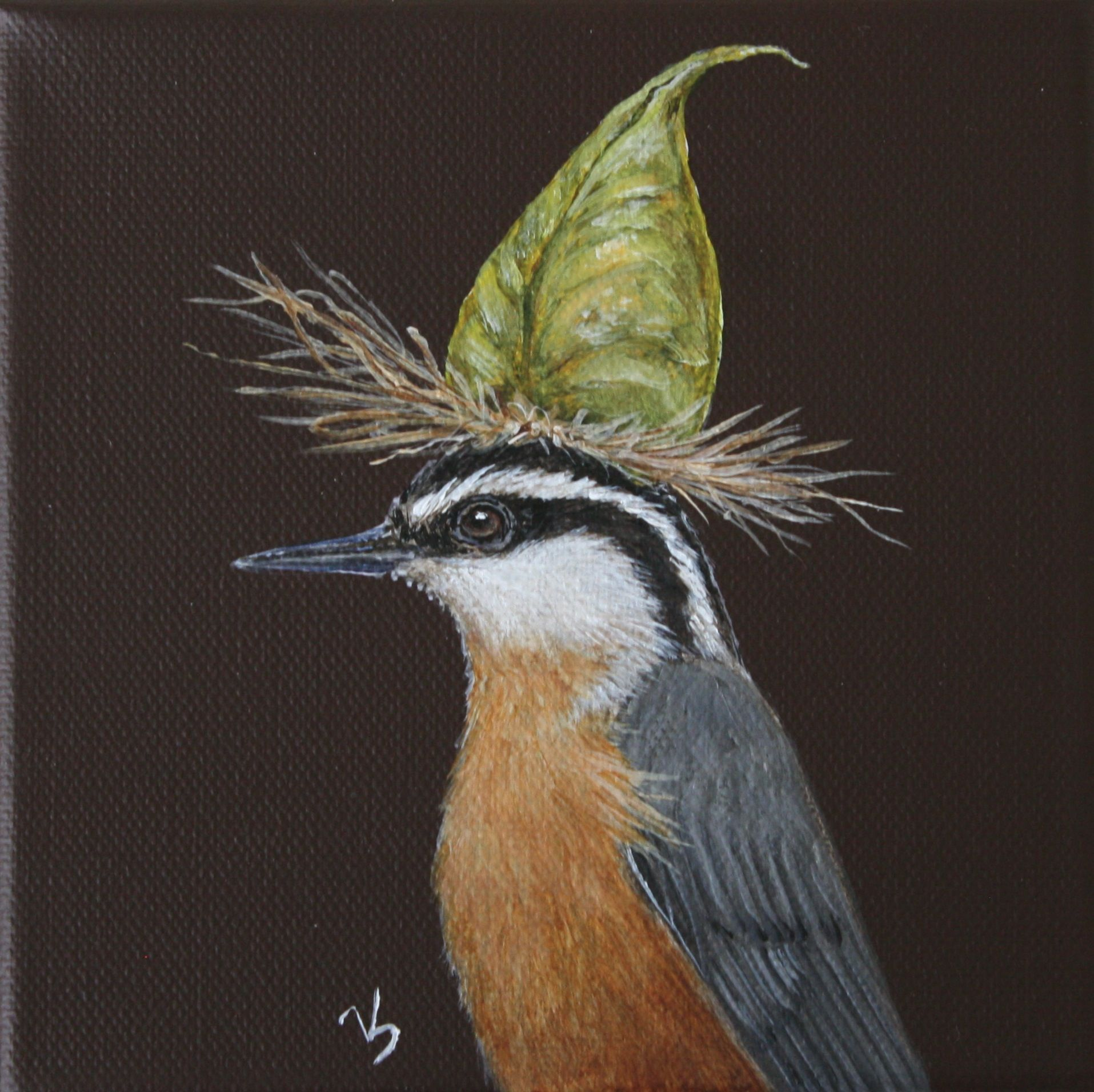 "Red-Breasted Nuthatch with Green Lantern Tree Seed Pod5"" x 5"" x 1 3/8""Acrylic on Canvas"