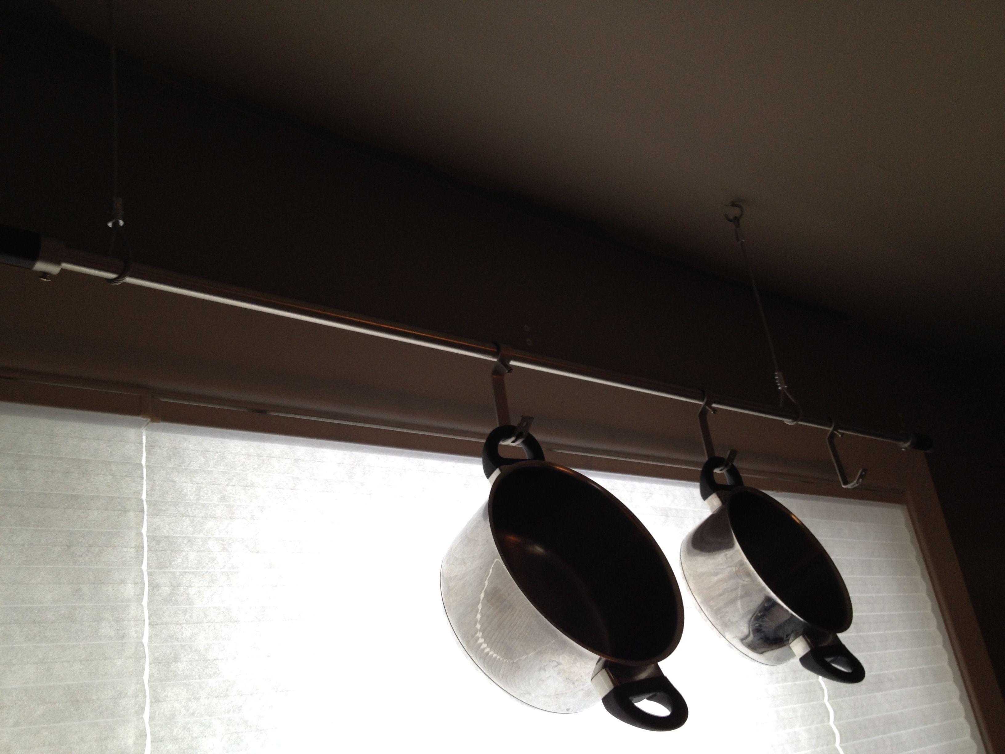 DIY pot holder made from curtain rod