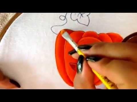 Pintura en tela calabaza y hoja de nio granjero cinco con cony
