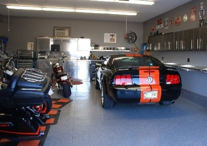 Garage Man Cave Ideas Theme Garage Man Cave With Motorcycles And Mustang The Garage Man Cave Garage Dream Car Garage Motorcycle Garage