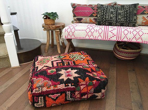 Moroccan Pouf Moroccan Boujaad Pouf Vintage Moroccan Floor