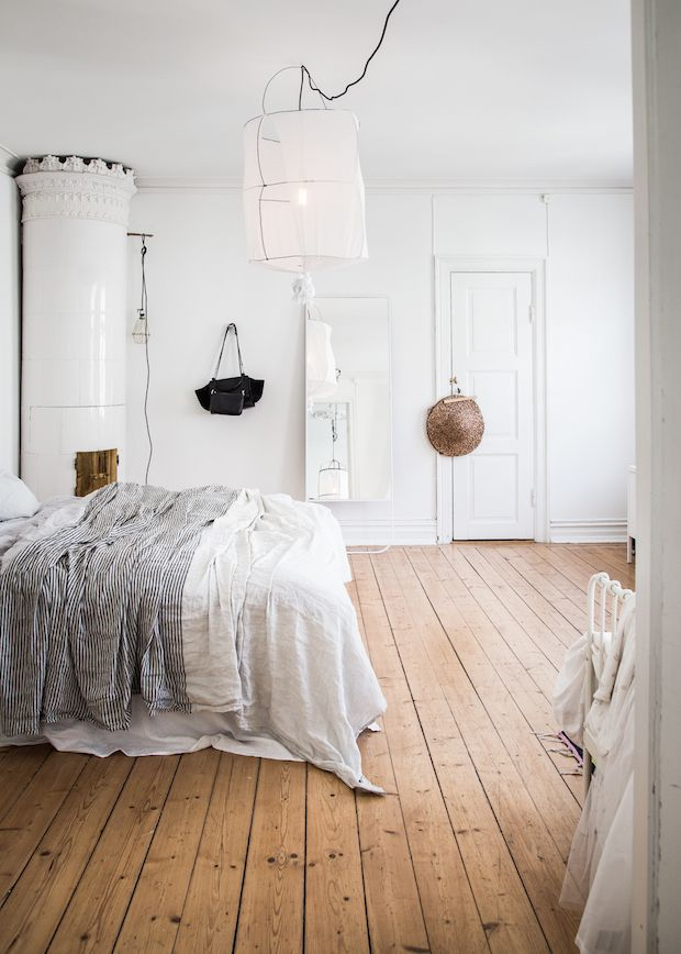 A relaxed Swedish space with floaty linens ad freestanding