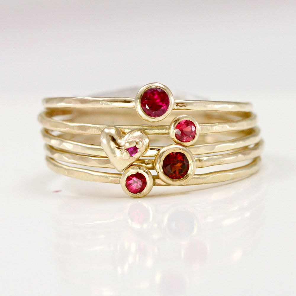 Ruby Garnet & Heart Stacking Rings in Solid 14k Gold, Red and Pink ...