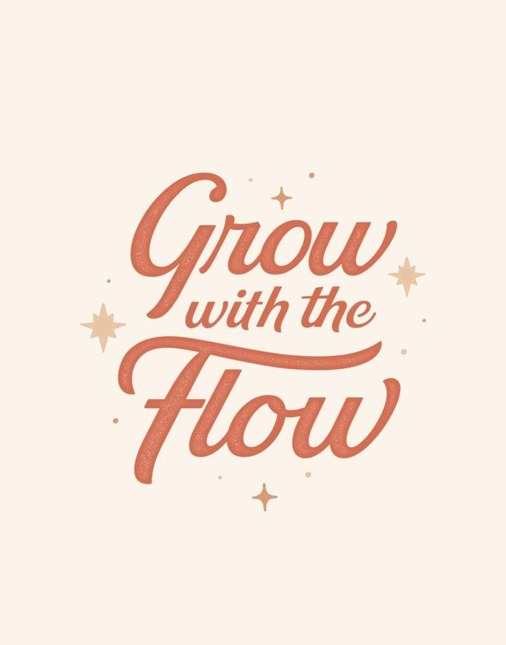 Typography – Grow with the Flow   Typography Print, art prints typography, inspirational wall art, typography art print, quote art