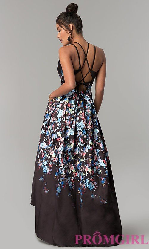 Image of high-low floral-print long prom dress with pockets. Style ...