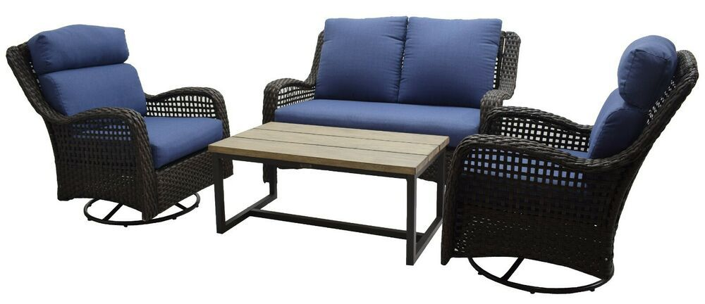 Patio Conversation Set 4pc Garden Furniture Cushions Yard Loveseat Swivel Chair Patio Furniture Conversation Sets Conversation Set Patio Wicker Patio Furniture