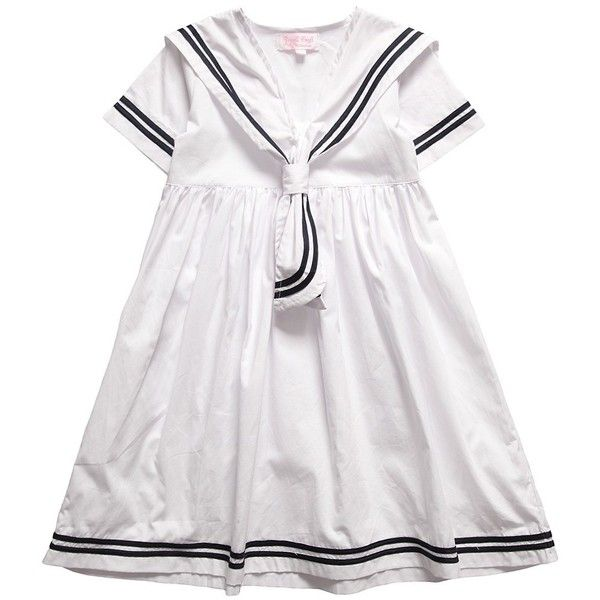 30468d3e Powell Craft White Cotton Sailor Dress ($38) ❤ liked on Polyvore featuring  dresses