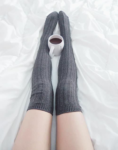 59b39c25fca3d9 Stripe Knitted Knee High Knee Socks - Dark Grey from Sandysshop ...